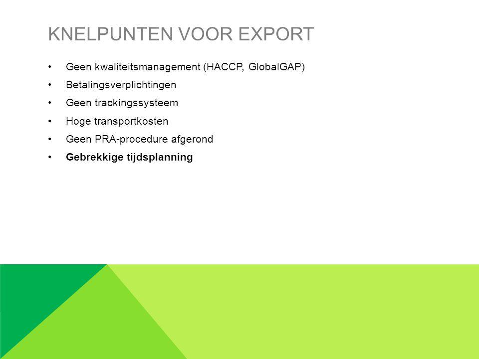 Knelpunten voor export