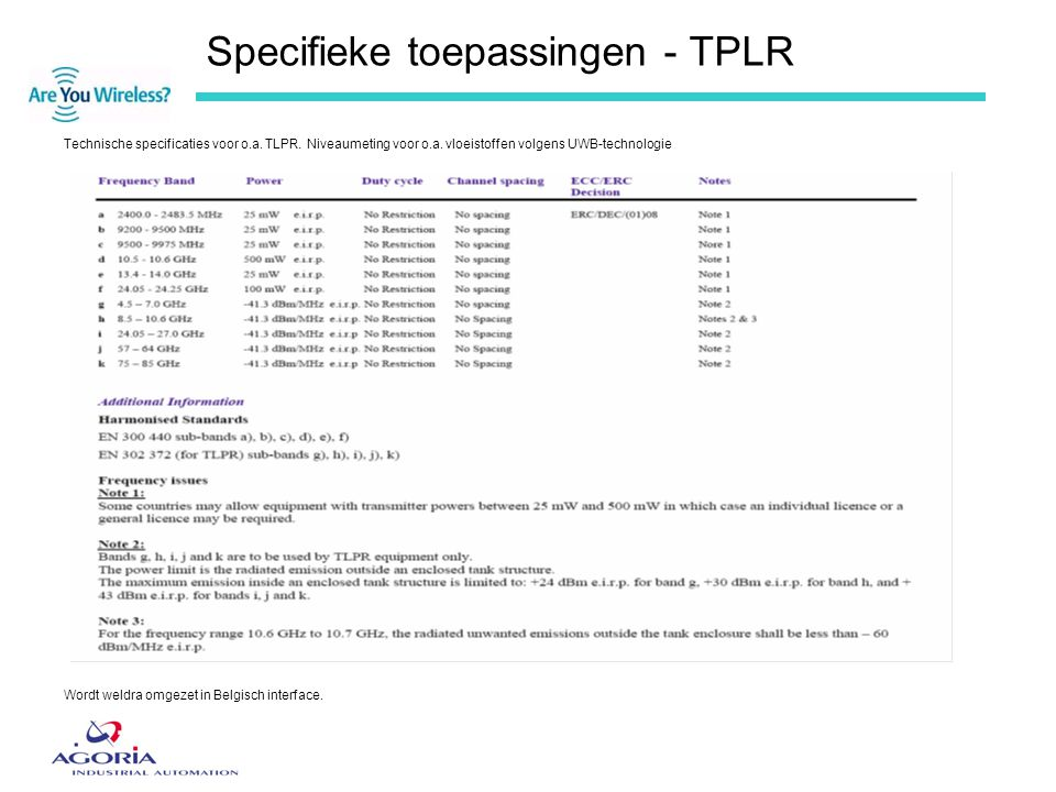 Specifieke toepassingen - TPLR
