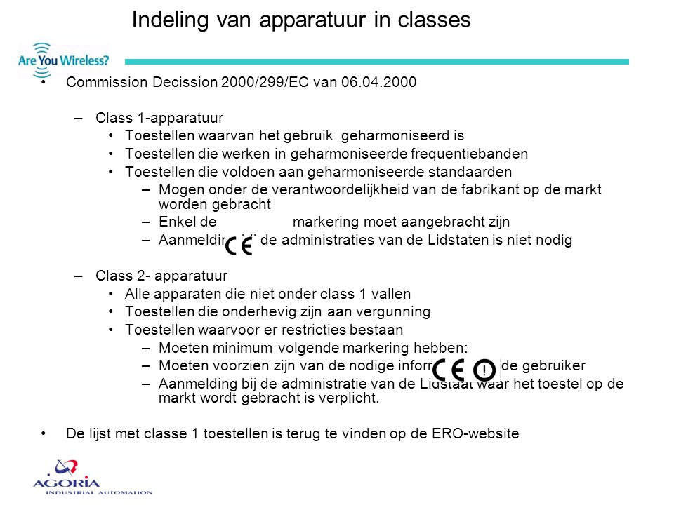 Indeling van apparatuur in classes