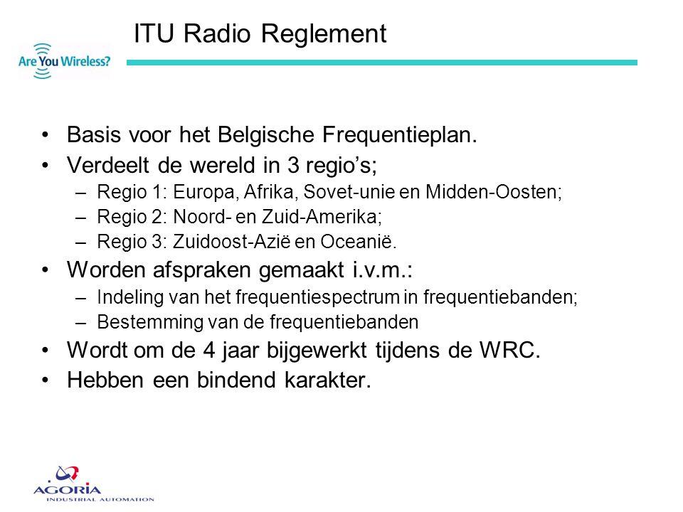 ITU Radio Reglement Basis voor het Belgische Frequentieplan.