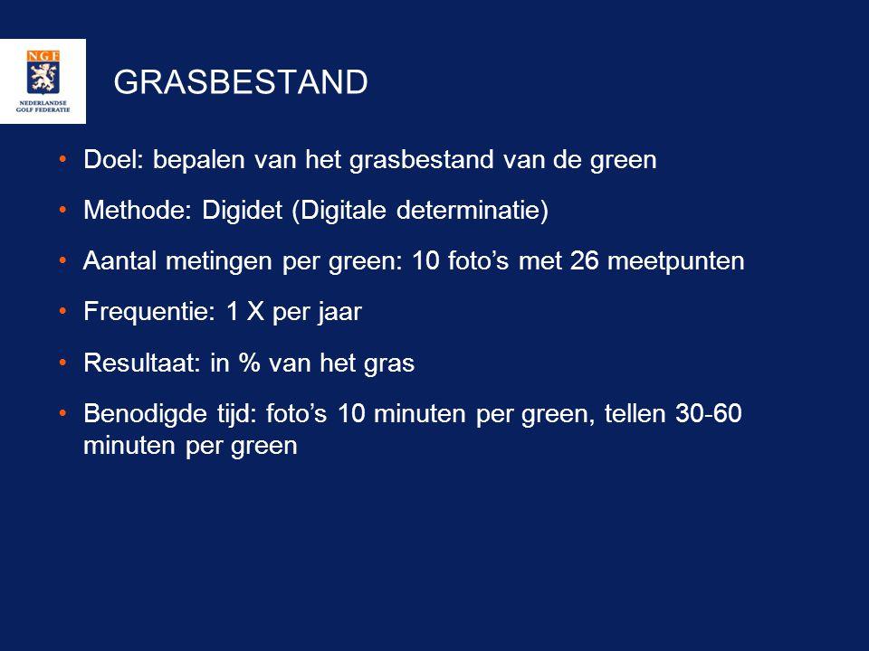 GRASBESTAND Doel: bepalen van het grasbestand van de green