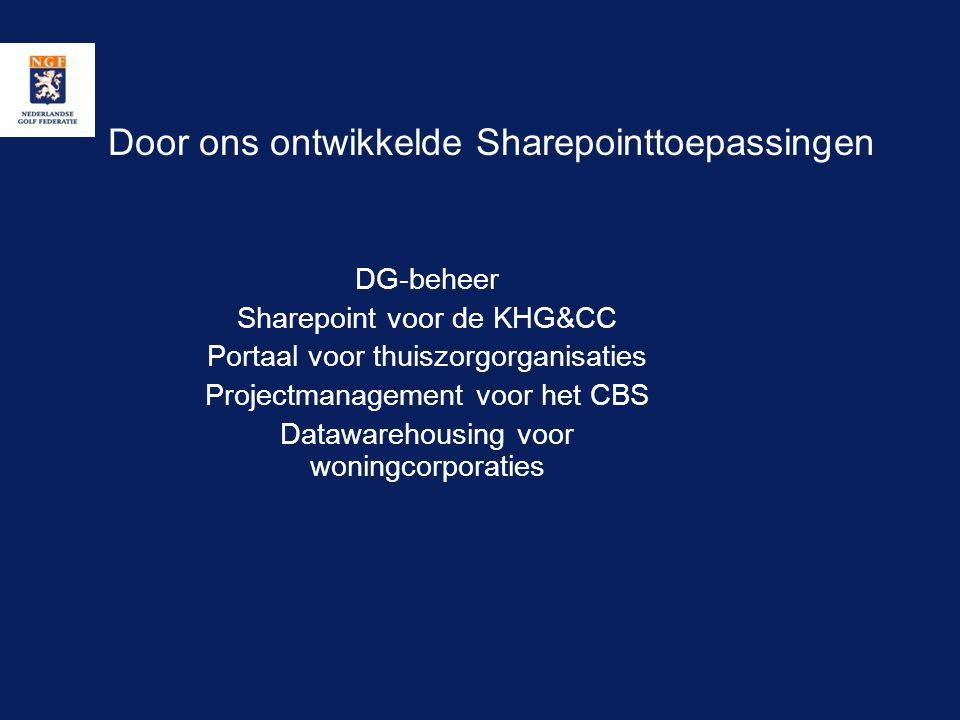 Door ons ontwikkelde Sharepointtoepassingen