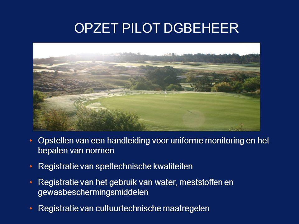 OPZET PILOT DGBEHEER Opstellen van een handleiding voor uniforme monitoring en het bepalen van normen.