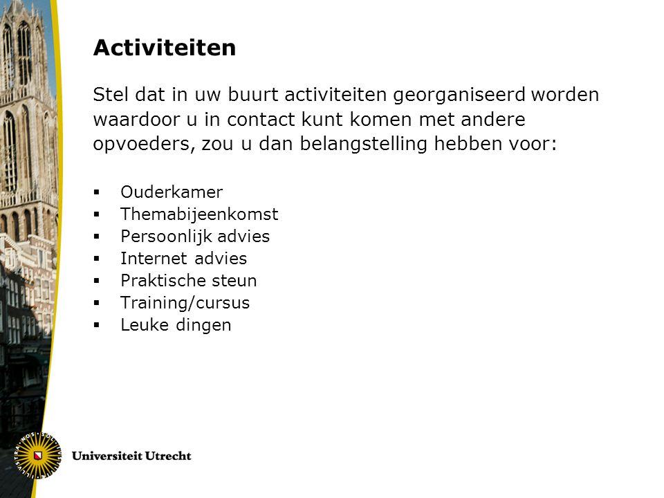 Activiteiten Stel dat in uw buurt activiteiten georganiseerd worden