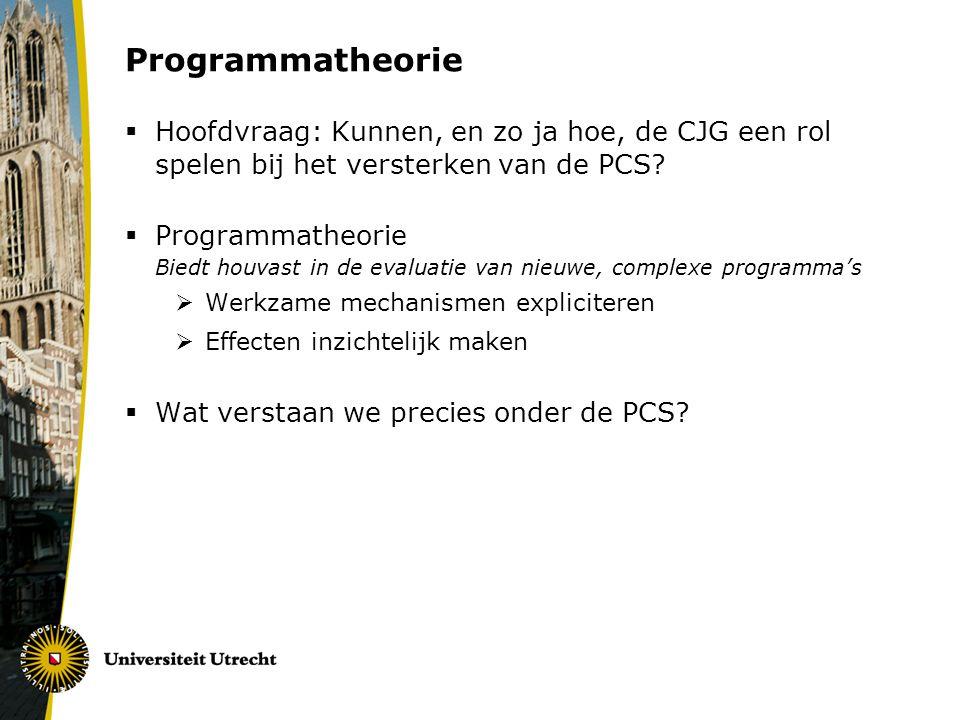 Programmatheorie Hoofdvraag: Kunnen, en zo ja hoe, de CJG een rol spelen bij het versterken van de PCS
