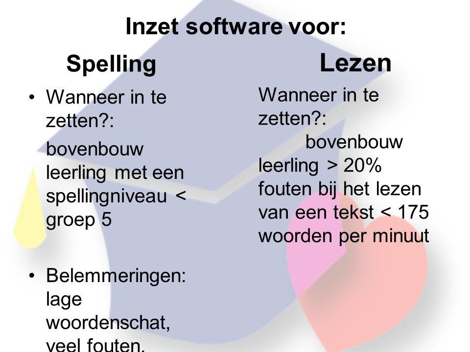 Lezen Inzet software voor: Spelling Wanneer in te zetten :