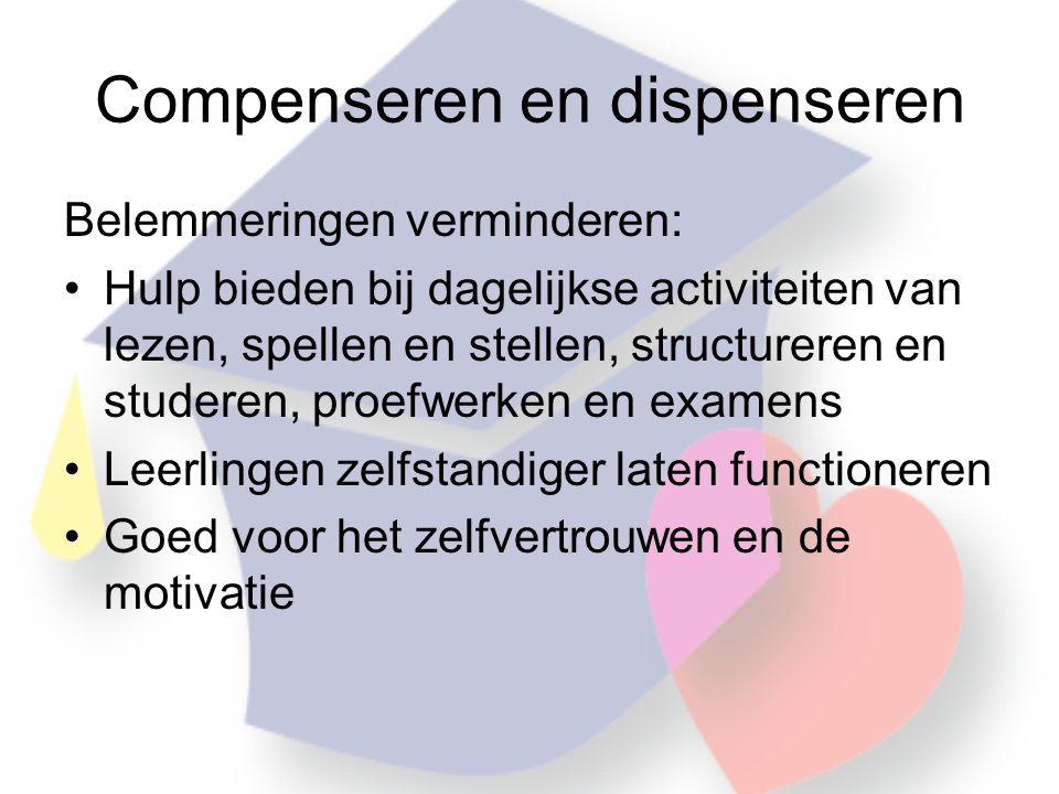 Compenseren en dispenseren