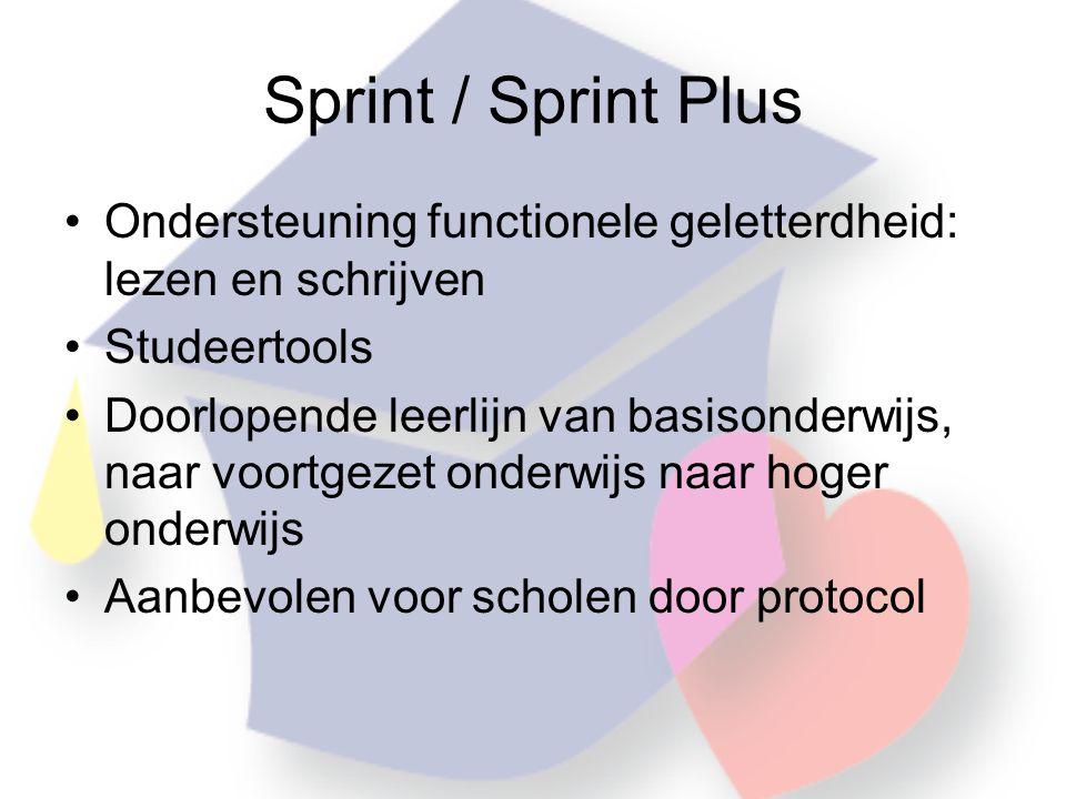 Sprint / Sprint Plus Ondersteuning functionele geletterdheid: lezen en schrijven. Studeertools.