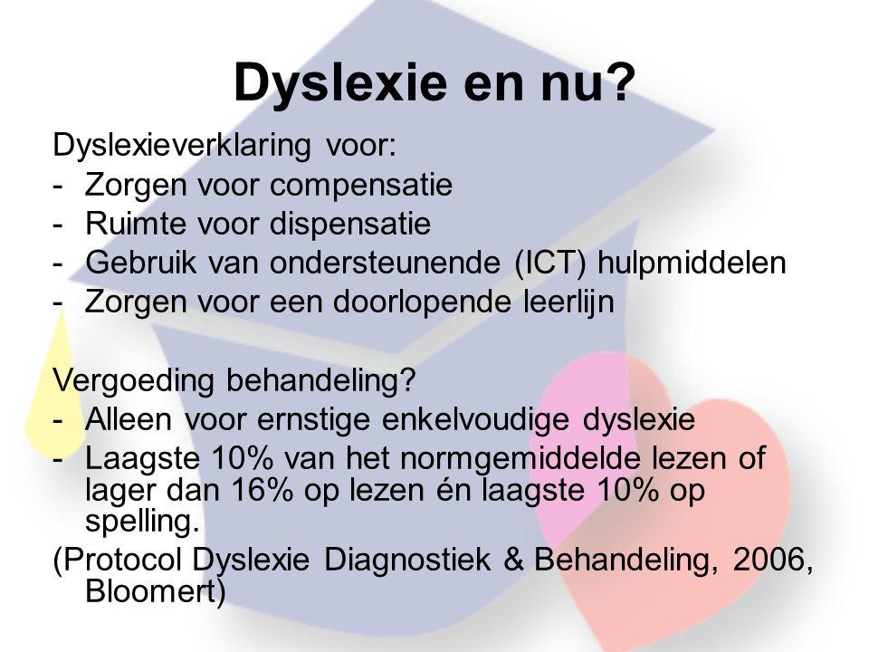 Dyslexie en nu Dyslexieverklaring voor: Zorgen voor compensatie