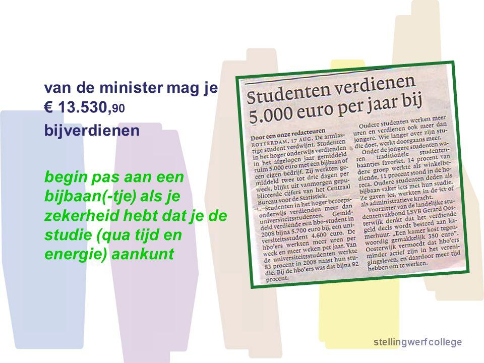 van de minister mag je € 13.530,90 bijverdienen.