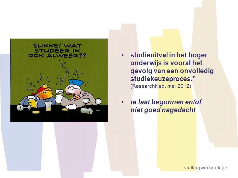 studieuitval in het hoger onderwijs is vooral het gevolg van een onvolledig studiekeuzeproces. (ResearchNed, mei 2012)