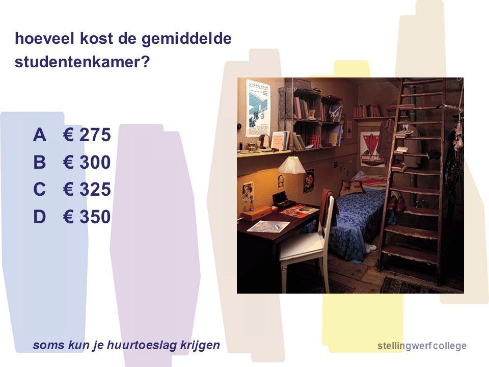 B € 300 C € 325 D € 350 hoeveel kost de gemiddelde studentenkamer