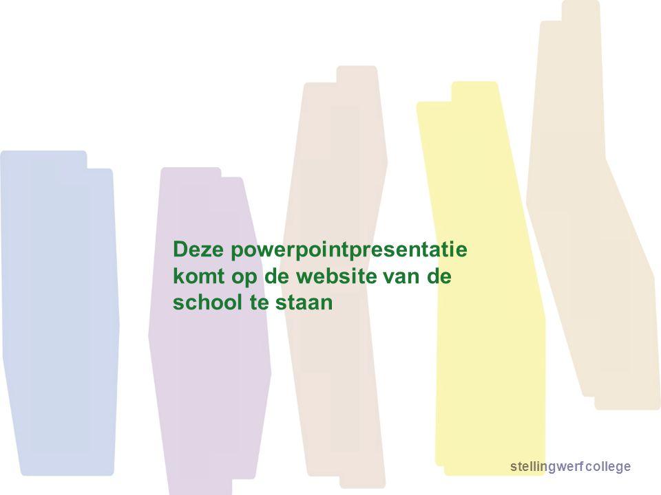 Deze powerpointpresentatie komt op de website van de school te staan