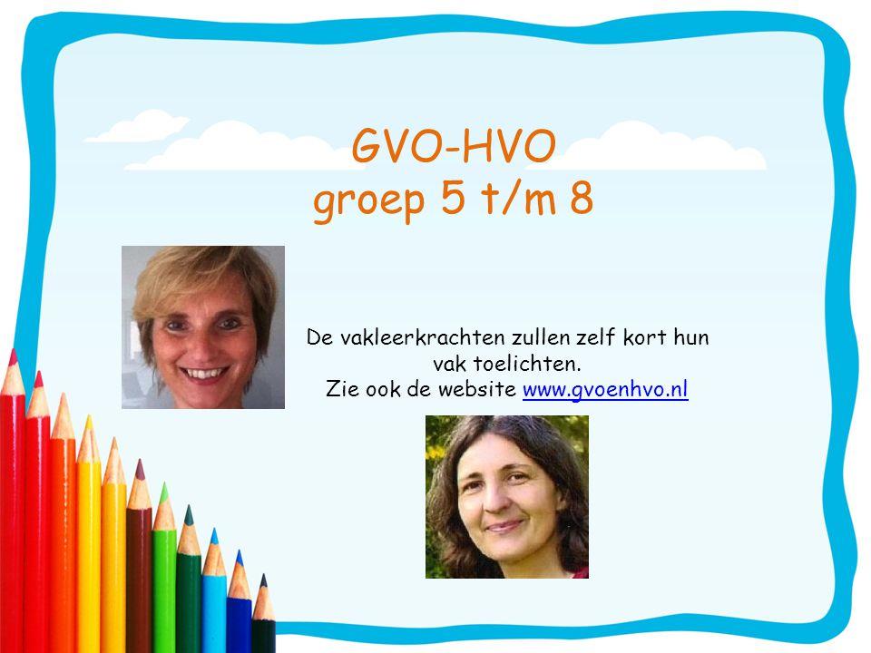 GVO-HVO groep 5 t/m 8 De vakleerkrachten zullen zelf kort hun vak toelichten.
