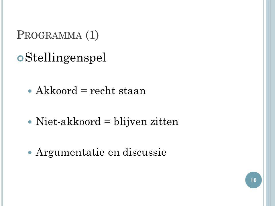 Stellingenspel Programma (1) Akkoord = recht staan