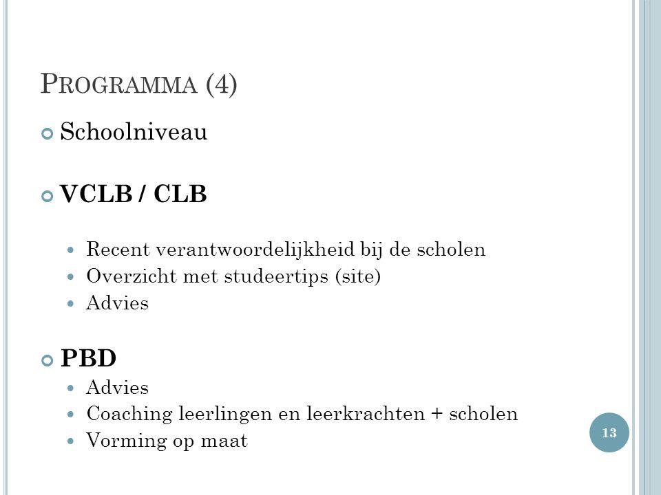 Programma (4) Schoolniveau VCLB / CLB PBD