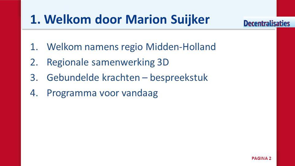 1. Welkom door Marion Suijker