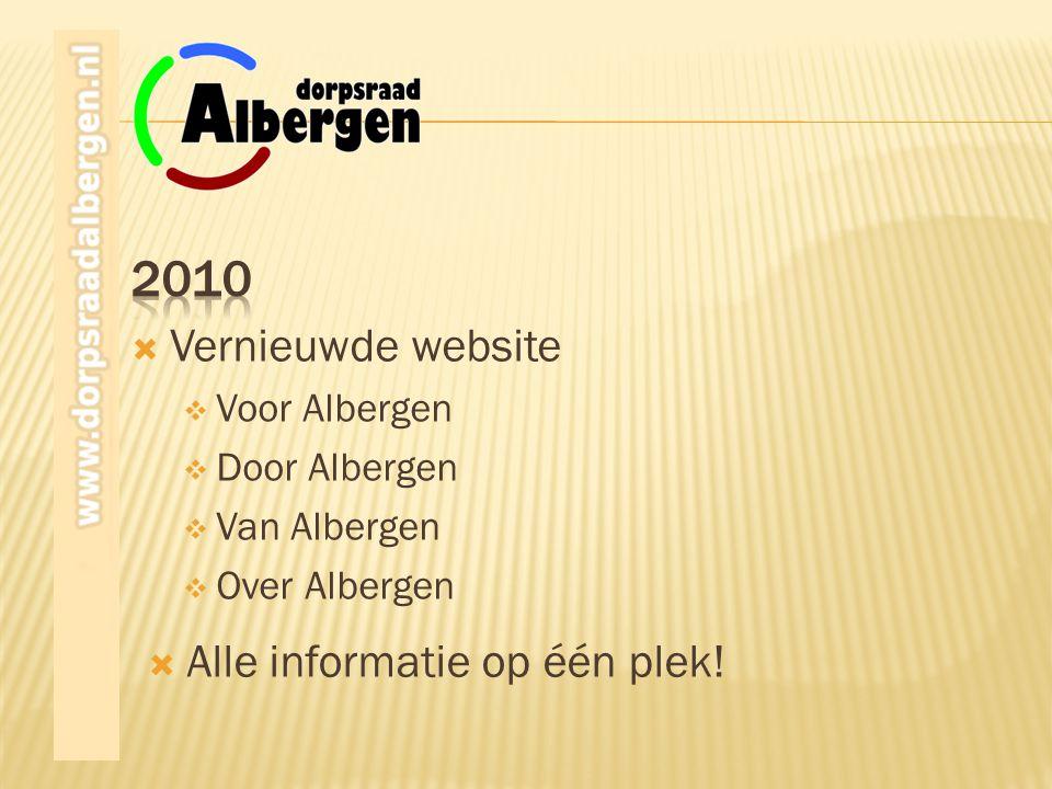2010 Vernieuwde website Alle informatie op één plek! Voor Albergen