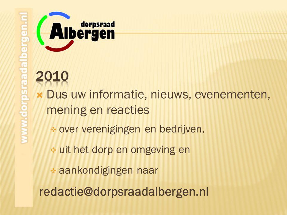 2010 Dus uw informatie, nieuws, evenementen, mening en reacties