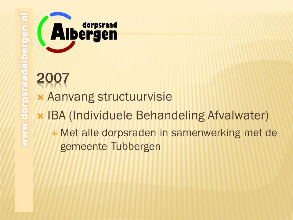 2007 Aanvang structuurvisie IBA (Individuele Behandeling Afvalwater)