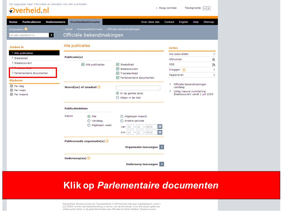 Klik op Parlementaire documenten