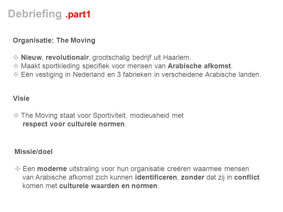Debriefing .part1 Organisatie: The Moving