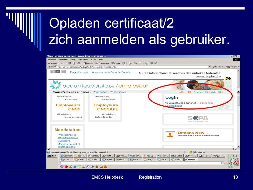 Opladen certificaat/2 zich aanmelden als gebruiker.