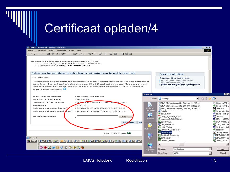 EMCS Helpdesk Registration