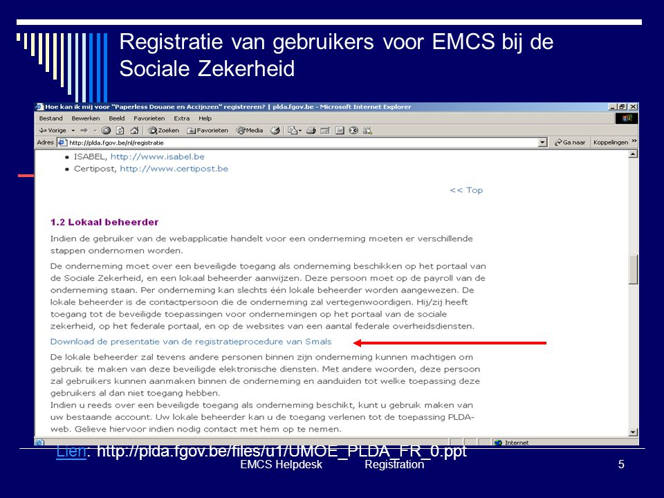 EMCS Helpdesk Registration