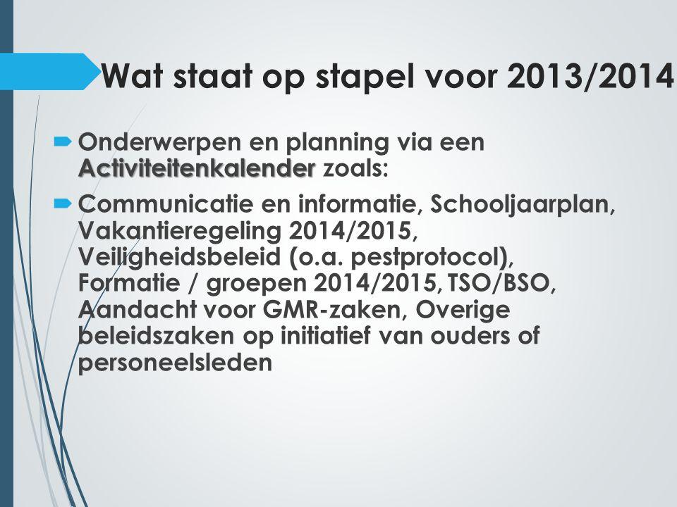 Wat staat op stapel voor 2013/2014
