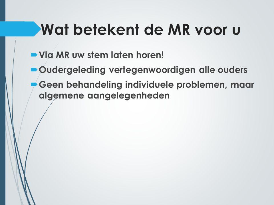 Wat betekent de MR voor u