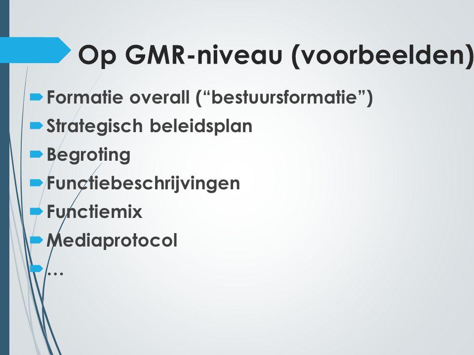 Op GMR-niveau (voorbeelden)