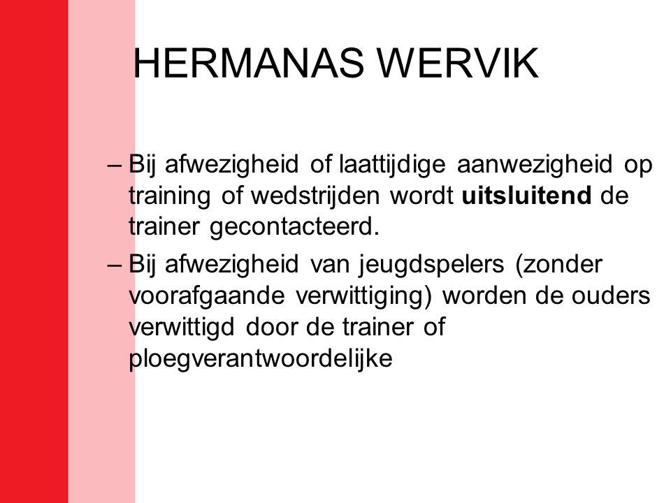 HERMANAS WERVIK Bij afwezigheid of laattijdige aanwezigheid op training of wedstrijden wordt uitsluitend de trainer gecontacteerd.