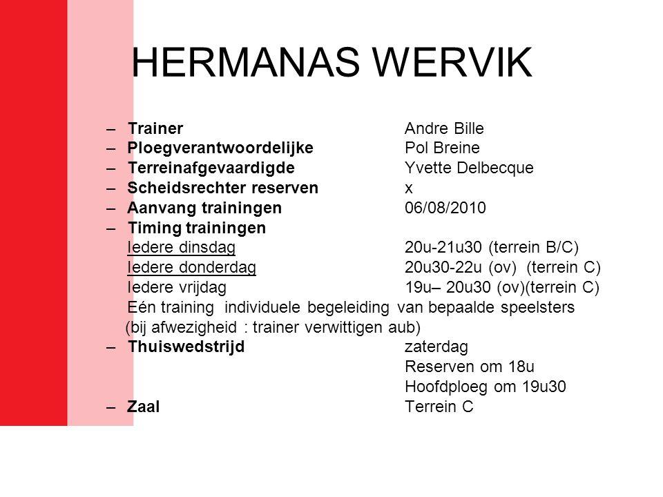HERMANAS WERVIK Trainer Andre Bille Ploegverantwoordelijke Pol Breine