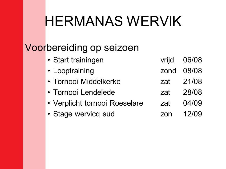 HERMANAS WERVIK Voorbereiding op seizoen Start trainingen vrijd 06/08