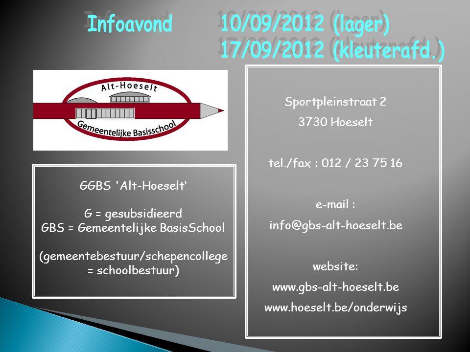Infoavond 10/09/2012 (lager) 17/09/2012 (kleuterafd.)