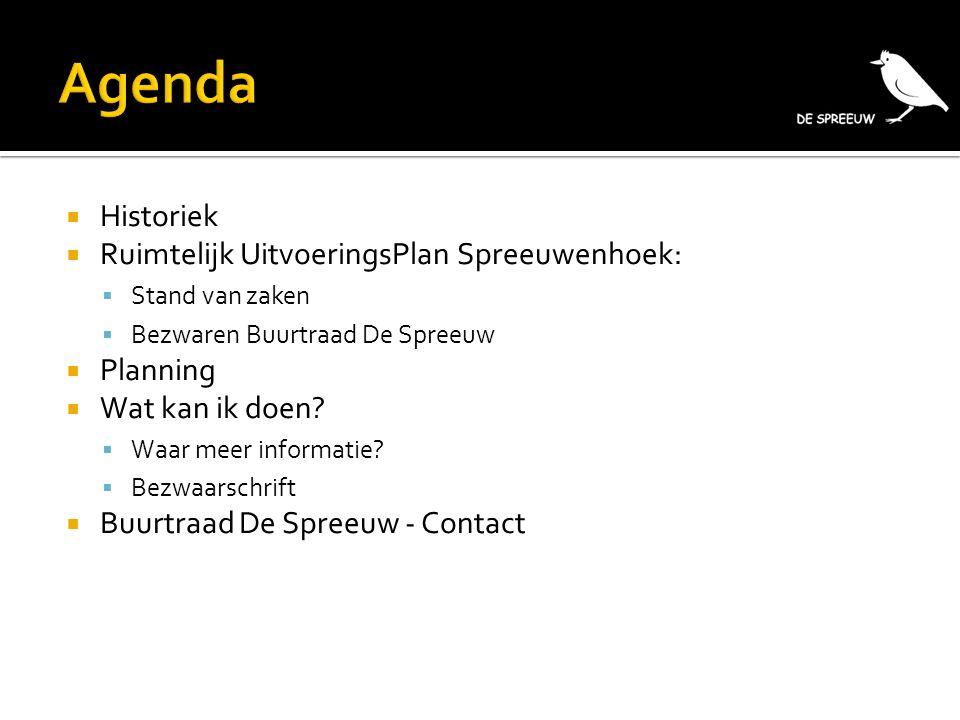 Agenda Historiek Ruimtelijk UitvoeringsPlan Spreeuwenhoek: Planning