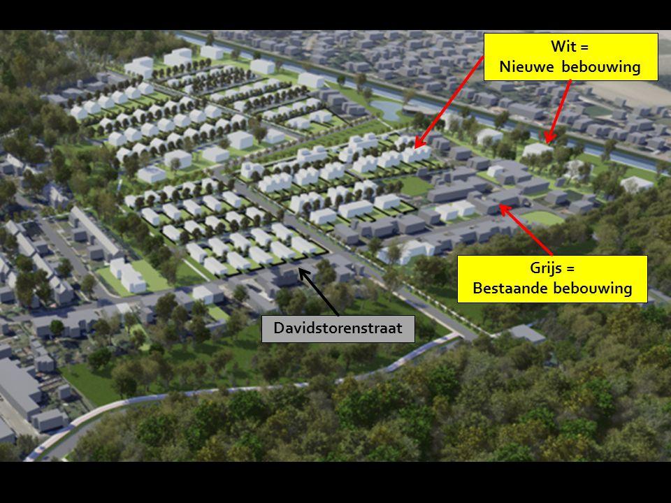 Wit = Nieuwe bebouwing Grijs = Bestaande bebouwing Davidstorenstraat