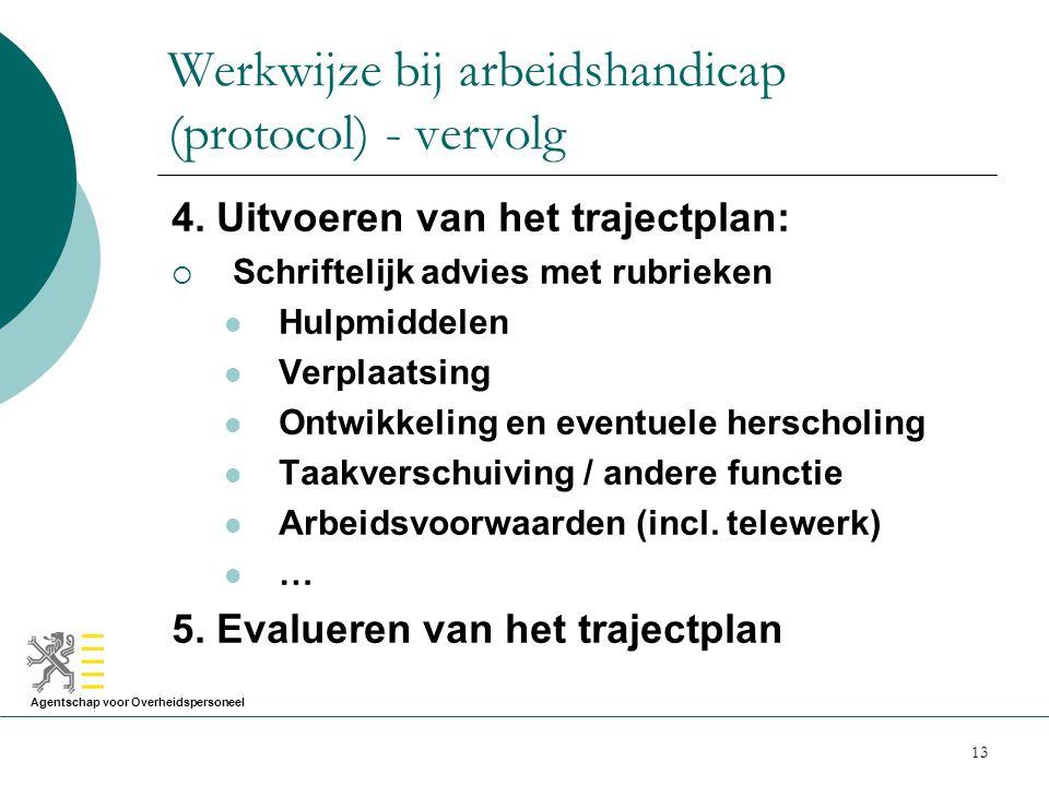 Werkwijze bij arbeidshandicap (protocol) - vervolg