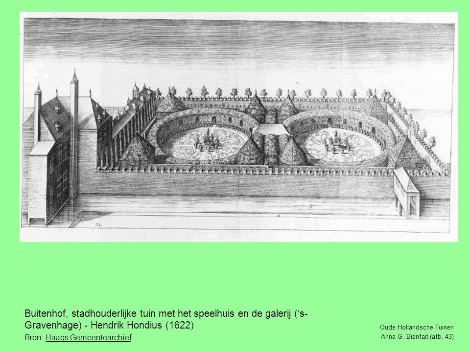 Buitenhof, stadhouderlijke tuin met het speelhuis en de galerij ('s-Gravenhage) - Hendrik Hondius (1622)