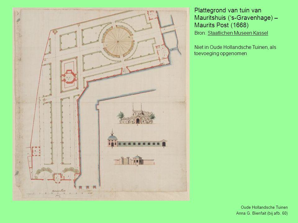 Plattegrond van tuin van Mauritshuis ('s-Gravenhage) – Maurits Post (1668)
