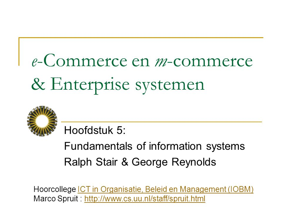 e-Commerce en m-commerce & Enterprise systemen