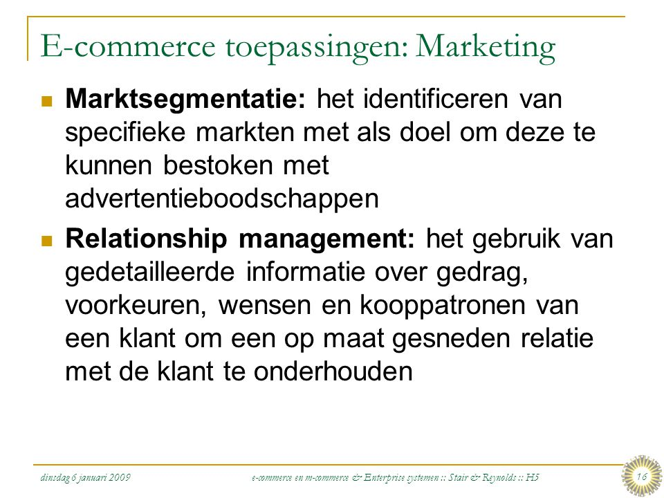 E-commerce toepassingen: Marketing