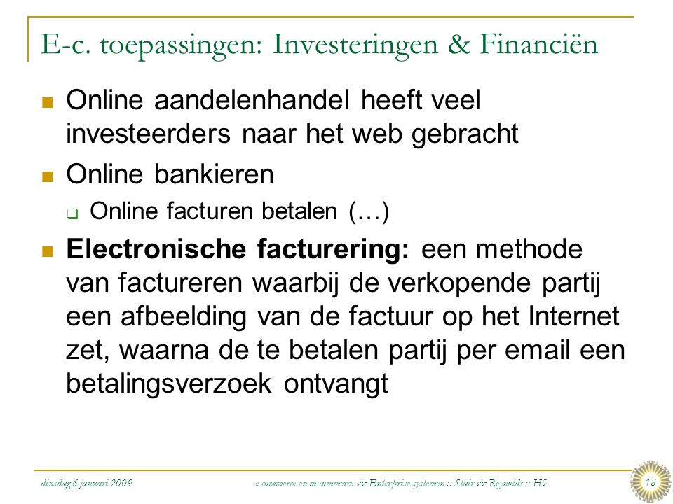 E-c. toepassingen: Investeringen & Financiën