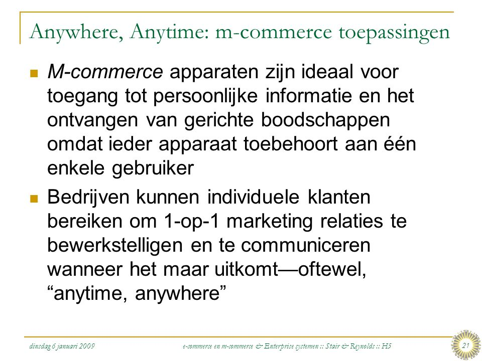 Anywhere, Anytime: m-commerce toepassingen