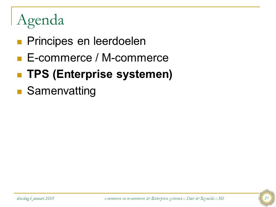 Agenda Principes en leerdoelen E-commerce / M-commerce