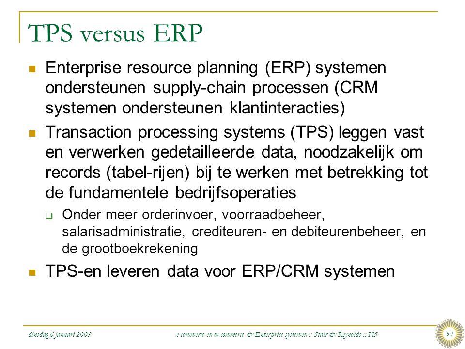 TPS versus ERP Enterprise resource planning (ERP) systemen ondersteunen supply-chain processen (CRM systemen ondersteunen klantinteracties)