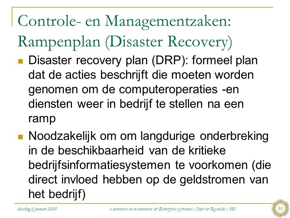 Controle- en Managementzaken: Rampenplan (Disaster Recovery)
