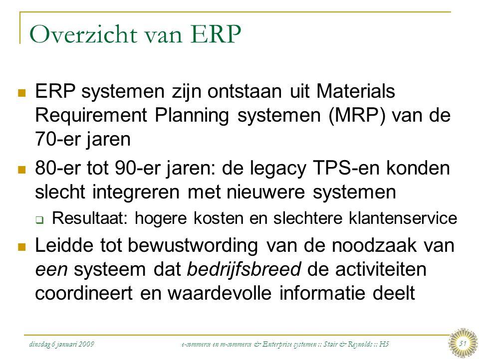 Overzicht van ERP ERP systemen zijn ontstaan uit Materials Requirement Planning systemen (MRP) van de 70-er jaren.