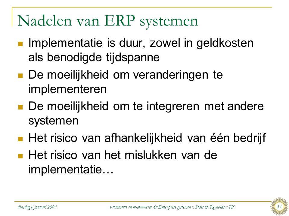 Nadelen van ERP systemen